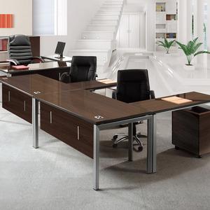 [EF] 월넛 책상 기본형 (갈색유리) / EWD